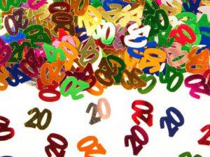 20-års färgglad konfetti - Dekorationer.