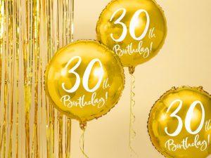 30-års heliumballong guld - Temafest & Högtider.