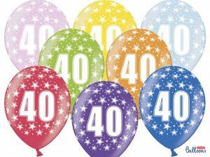 40-års ballonger flerfärgad 10-pack - Temafest & Högtider.