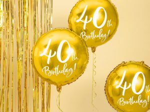 40-års heliumballong guld - Temafest & Högtider.