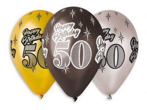 50-års ballonger 6-pack - Temafest & Högtider.