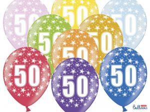50-års ballonger flerfärgad 10-pack - Temafest & Högtider.