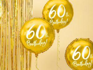 60-års heliumballong guld - Temafest & Högtider.