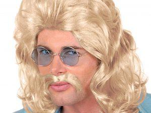 70-tals peruk Blond med mustasch - Maskerad.