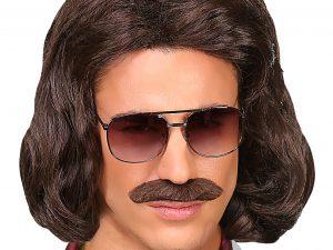 70-tals peruk Brun med mustasch - Maskerad.