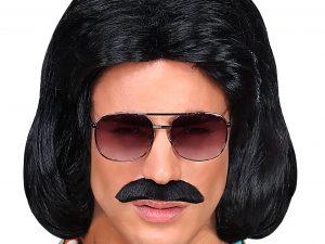 70-tals peruk Svart med mustasch - Maskerad.