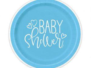 Baby Shower tallrikar ljusblå - Dukning.