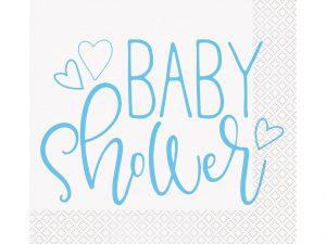 Babyshower Servetter Ljusblå - Dukning.