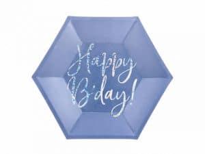 Blå assietter med happy birthday - Dukning.