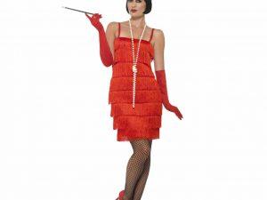 Charlestonklänning röd L - Temafest & Högtider.