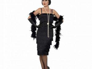 Charlestonklänning svart L - Temafest & Högtider.