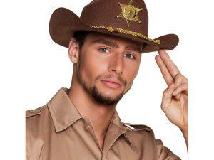 Cowboyhatt brun med detaljer - Maskerad.