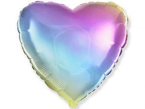 Heliumballong hjärta pastell regnbåge - Barnkalas.