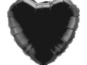 Heliumballong hjärta svart - Barnkalas.