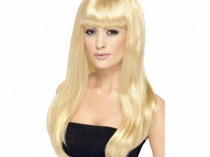 Lång blond peruk med lugg - Maskerad.