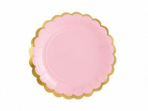 Ljusrosa assietter guldkant - Dukning.