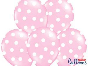 Ljusrosa ballonger med prickar - Temafest & Högtider.