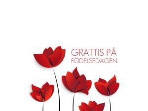 Oblat grattis röda blommor - Tårtbilder till din tårta.