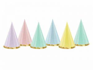 Partyhatt pastell med guldkant - Dukning.