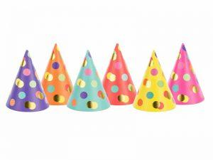 Partyhattar med prickar färgglad - Dukning.