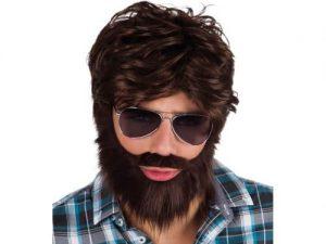 Peruk med skägg och mustasch - Maskerad.