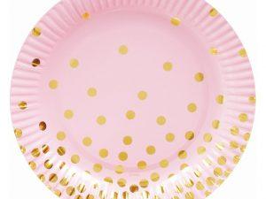Rosa assietter med guldprickar - Dukning.