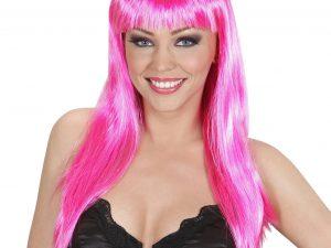 Rosa lång peruk med lugg - Maskerad.