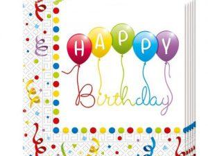 Servetter Happy Birthday ballonger - Dukning.