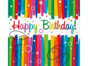 Servetter Happy Birthday färgglad - Dukning.