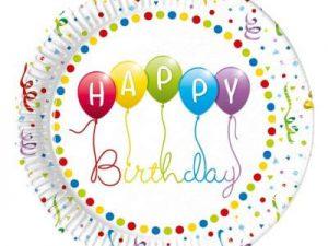 Tallrikar Happy Birthday ballonger - Dukning.