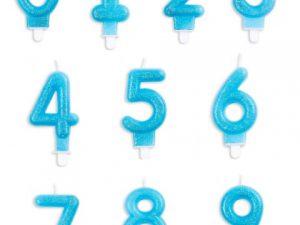 Tårtljus siffror ljusblå glitter 4 - Dukning.