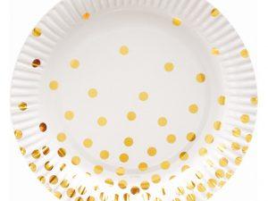 Vita assietter med guldprickar - Dukning.